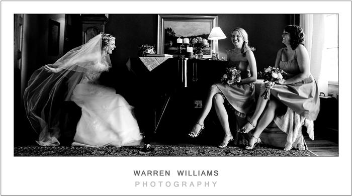 bride and bridesmaids at piano