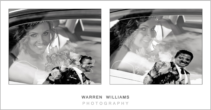 bride and groom reflections