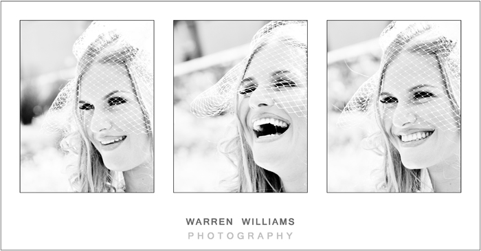 Bride laughing, black & white wedding photos
