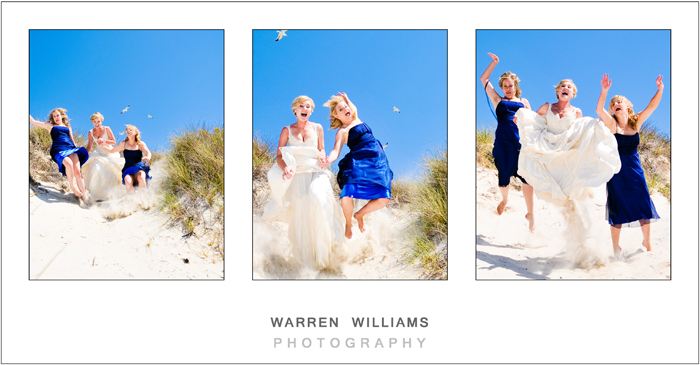 Bride and bridesmaids on sand dune