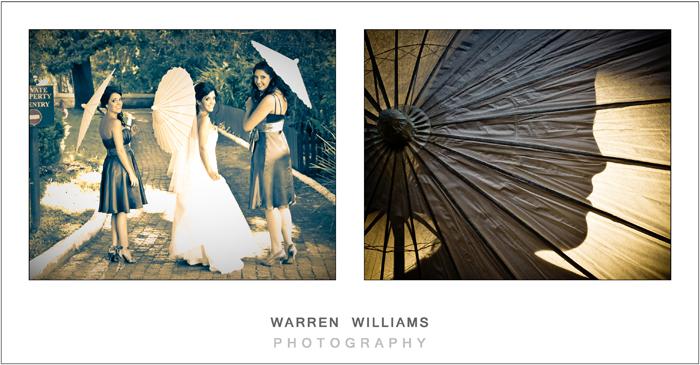 Bride and bridesmaids with parasol umbrellas