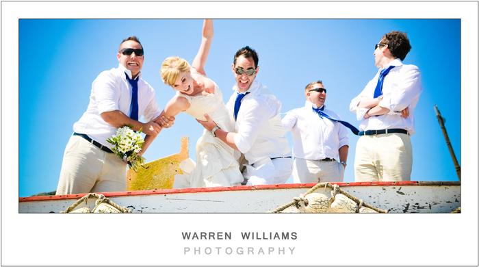 Bride, groom and bestmen at the Strandloper
