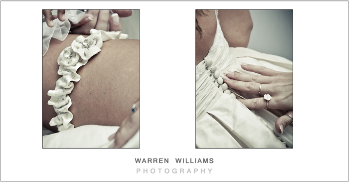 Bridal dresses and garters Warren Williams Photography