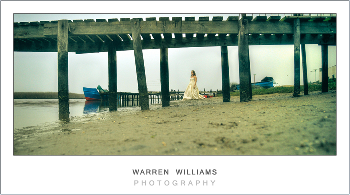 Bride, jetty, Warren Williams Photography