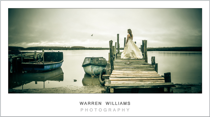 Bride, jetty, fishing boats, coast