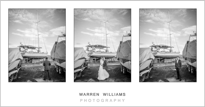 Bride and groom in yacht yard