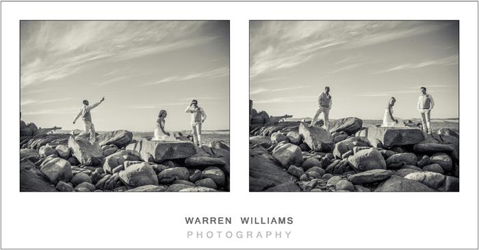 Bride, groom, bestman playing on rocks