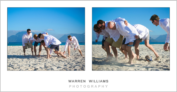Groom and groomsmen rugby on the beach