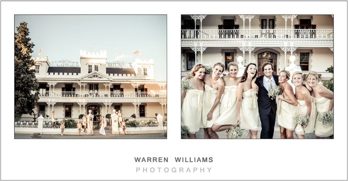 Bridal party outside Lord Milner Hotel