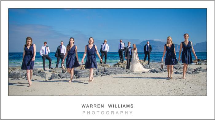 Bridesmaids strutting on beach