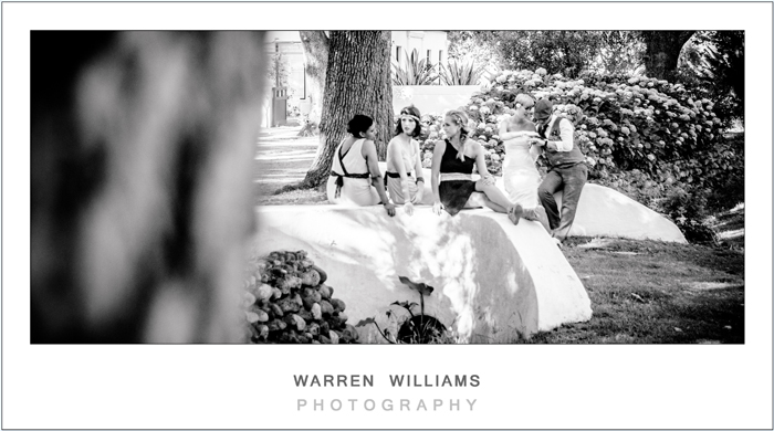 Bride, groom and bridesmaids at Allee Bleue