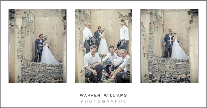 Groomsmen and bridal couple