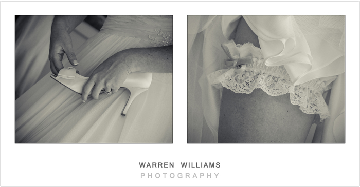 Bridal shoes and garter