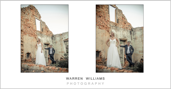 Bride and groom at old building