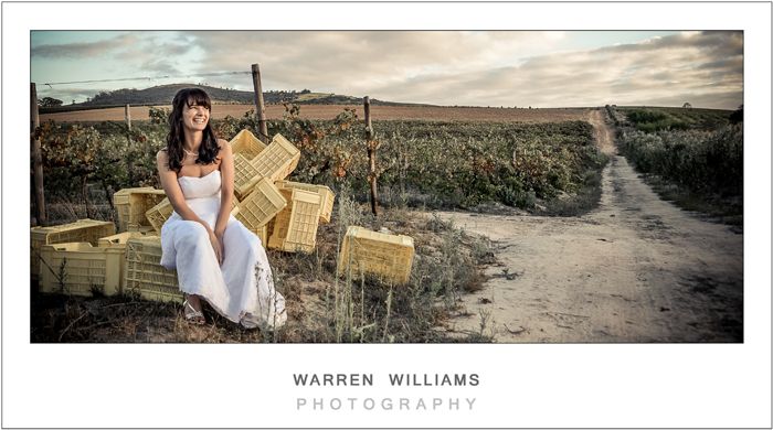 Bride on farm road at sunset