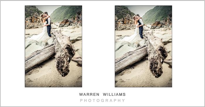 Bride and groom on beach, Oubos, beach wedding, Warren Williams Photography