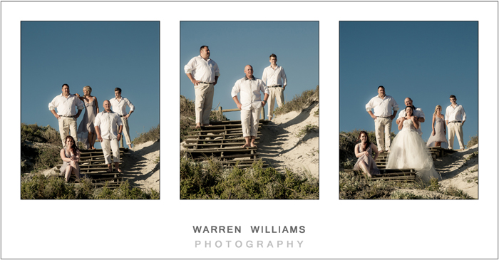 Bridal party on beach stairs