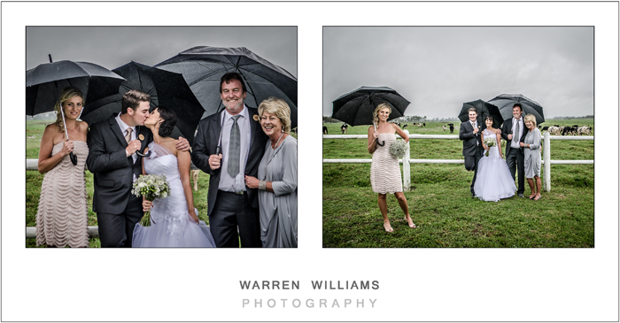 Bride, groom and parents in the rain
