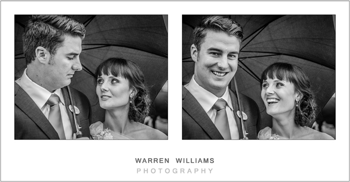 Bride and groom under umbrella in rain