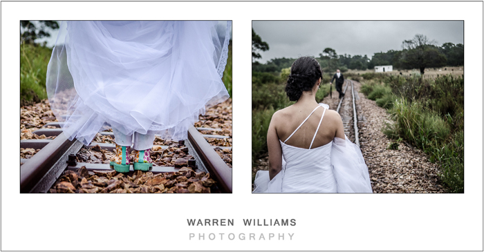 Bride in gumboots on train track