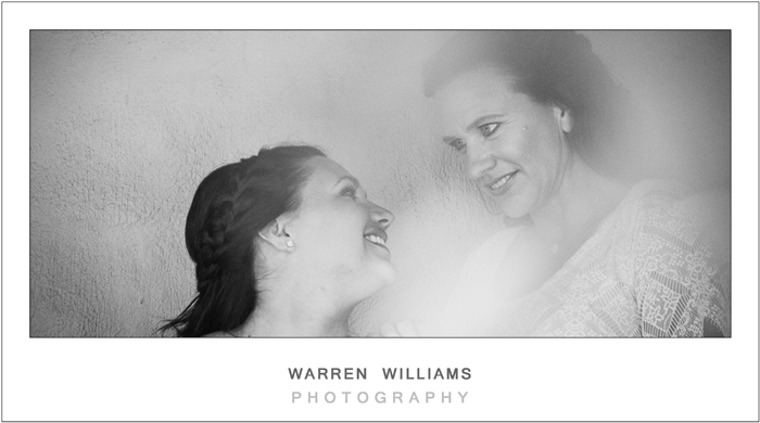 Bride and her mom, black and white wedding photos