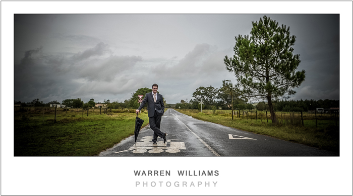Groom on country road