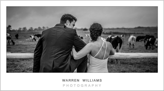 Bride and groom in open field