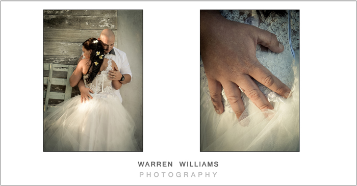 Bride and groom as photographed by Warren Williams Photography