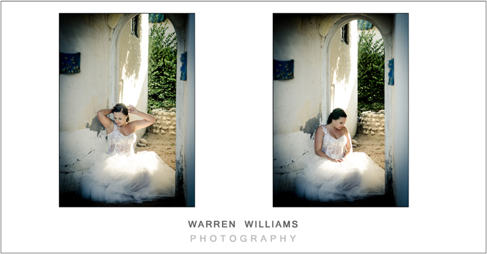 Bride in rustic doorway as photographed by Warren Williams Photography
