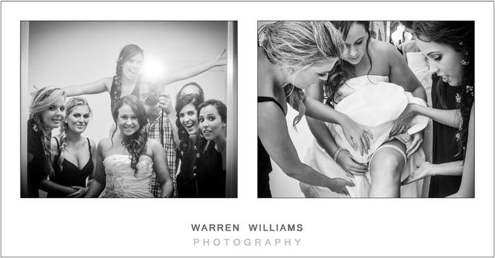 Bride, bridesmaids and Warren Williams