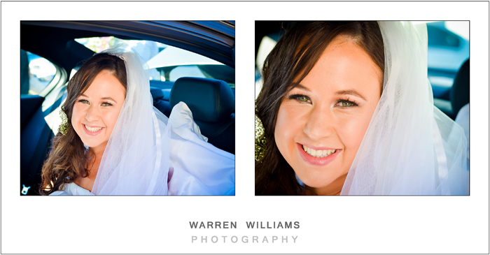 Tam in wedding car