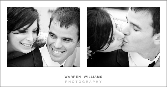 Groom laughs and kisses his bride