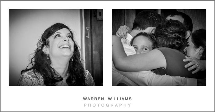 Family hug at wedding