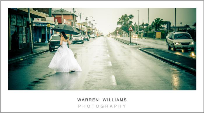 cute bride trashes dress in rain