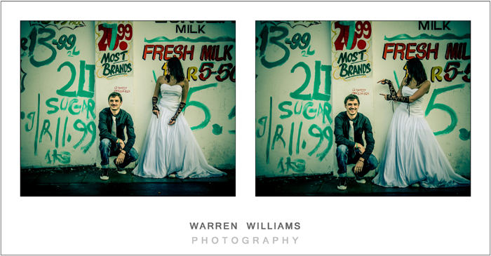 awesome photography of bride against graffiti wall