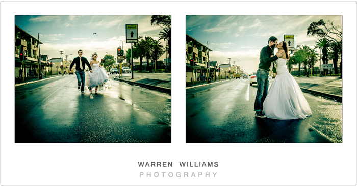 bride, groom kissing in middle of wet rainy road