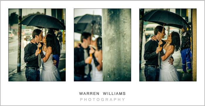 bride groom kiss in the rain under umbrella