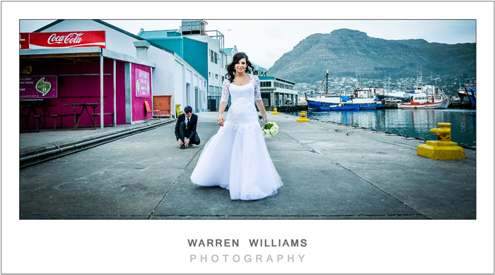 White wedding dress in harbor area