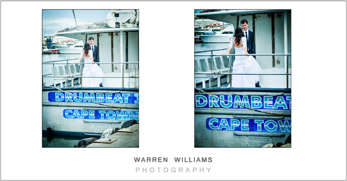 Bride and groom play on boat