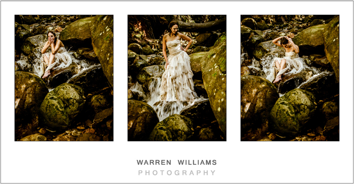 Trash the dress in mountain forest