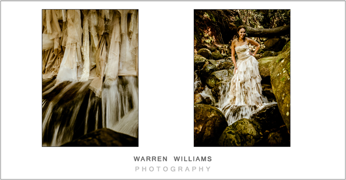 Bride stands in cold waterfall
