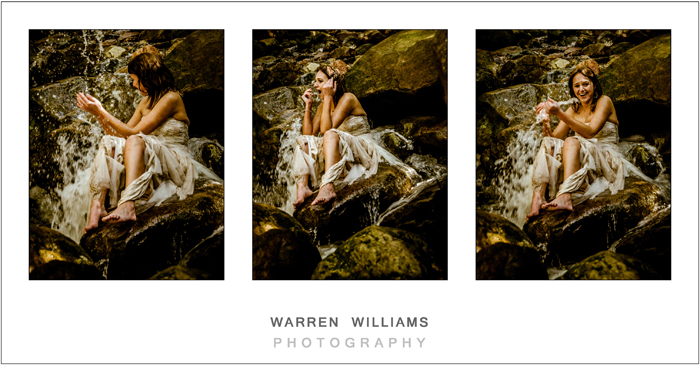 Awesome trash the dress photos in cold mountain stream