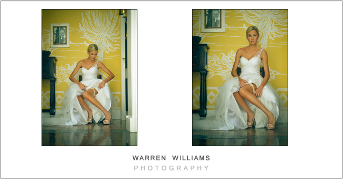 Tanned bride on chair showing garter