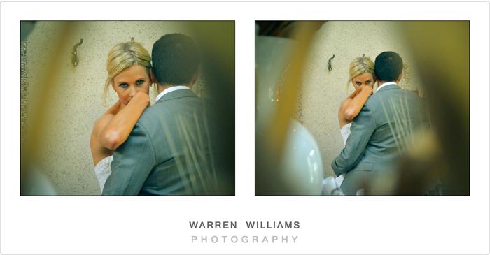 Demure bride with groom