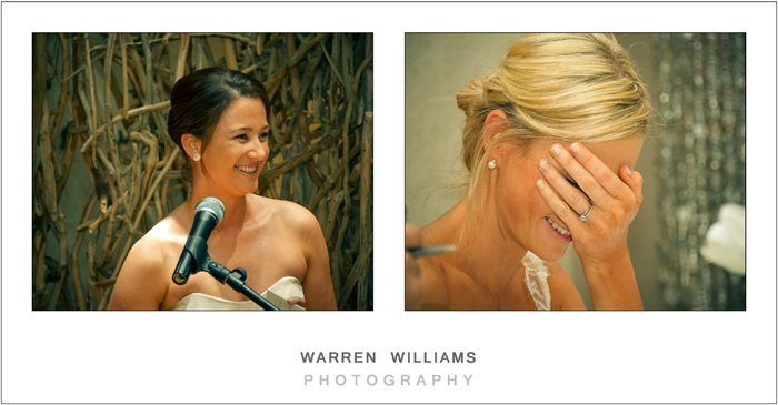 Bride covers face during speeches