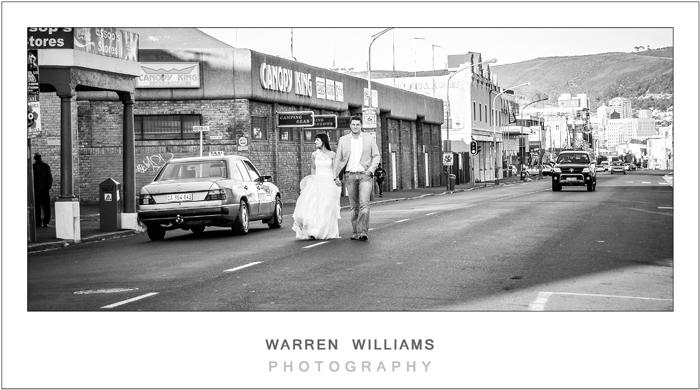 Bride and groom on Woodstock Main Road