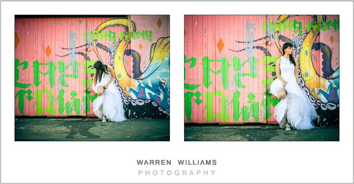 Bride and graffiti