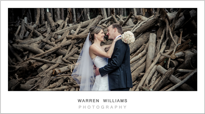 bride and groom in woodcutter setting
