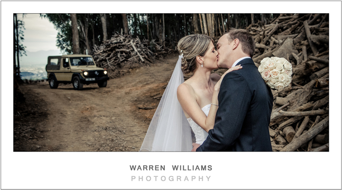 bride and groom with land rover