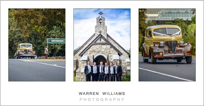 groom and groomsmen waiting for bride in vintage car